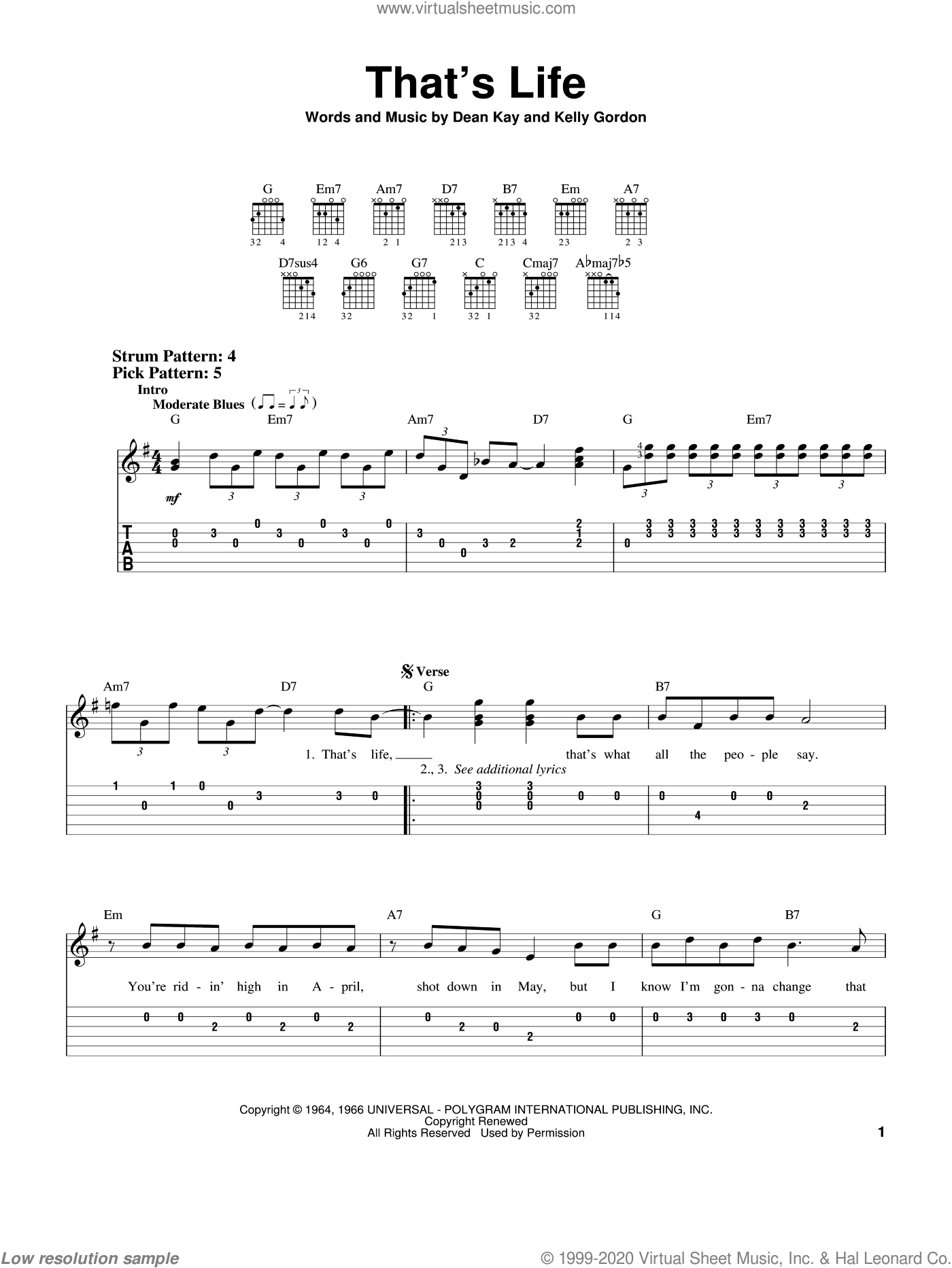 That's Life sheet music for guitar solo (easy tablature) by Frank Sinatra, Dean Kay and Kelly Gordon, easy guitar (easy tablature)
