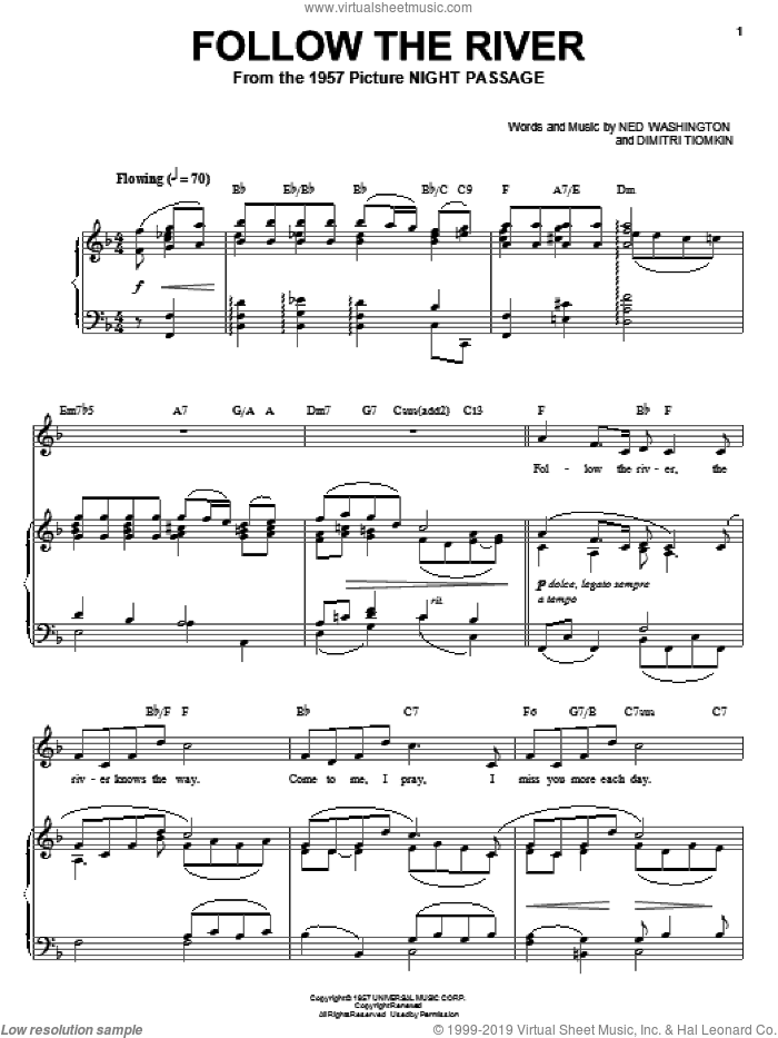 Follow The River sheet music for voice, piano or guitar by Ned Washington and Dimitri Tiomkin. Score Image Preview.