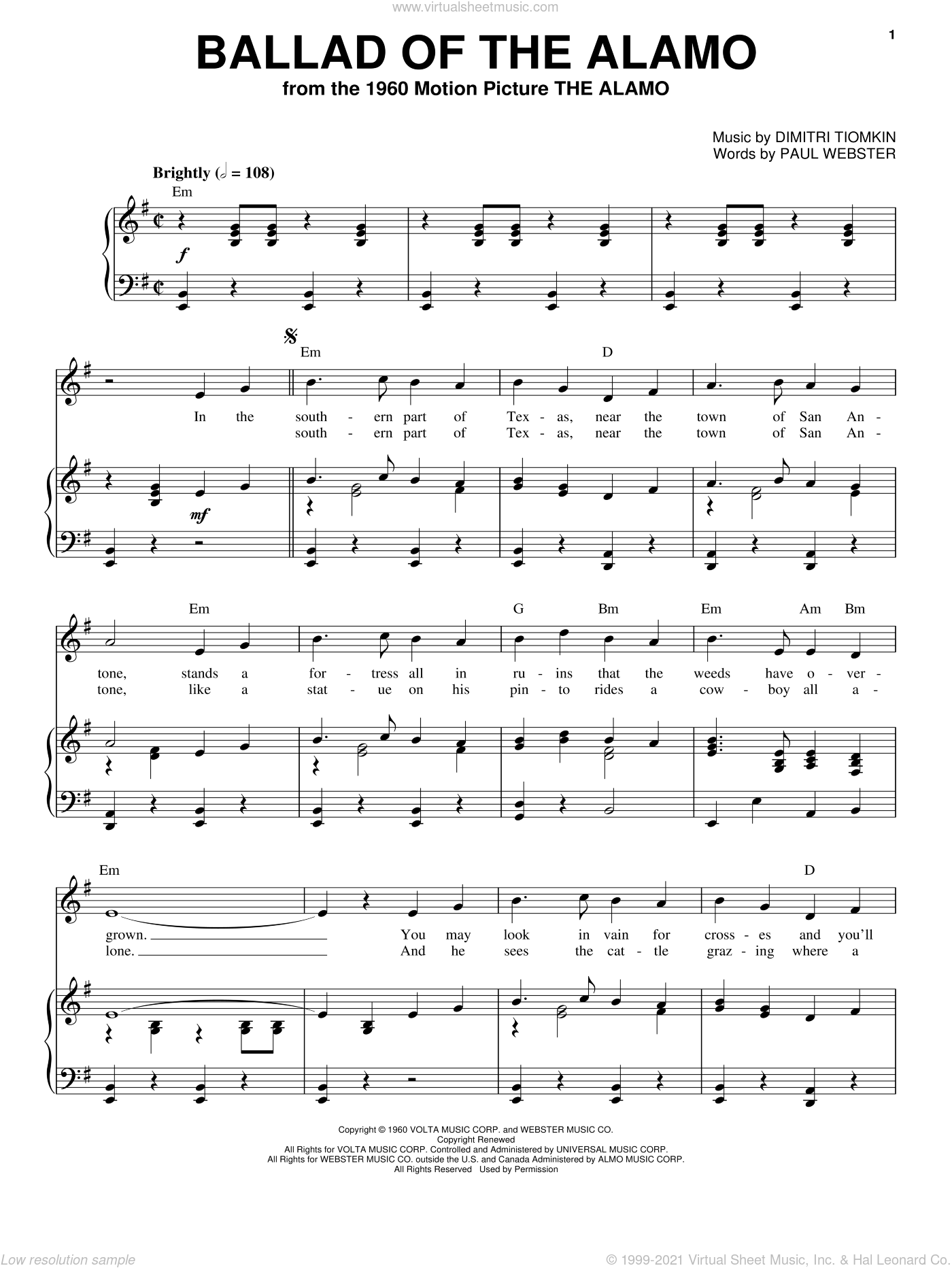 Ballad Of The Alamo sheet music for voice, piano or guitar by Dimitri Tiomkin and Paul Francis Webster. Score Image Preview.