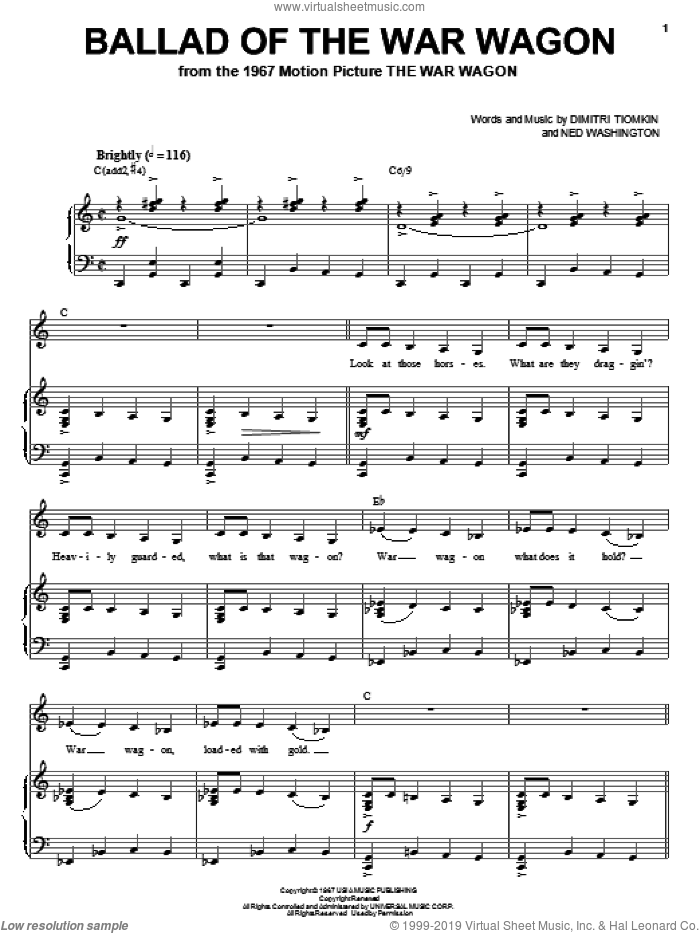 Ballad Of The War Wagon sheet music for voice, piano or guitar by Dimitri Tiomkin and Ned Washington. Score Image Preview.