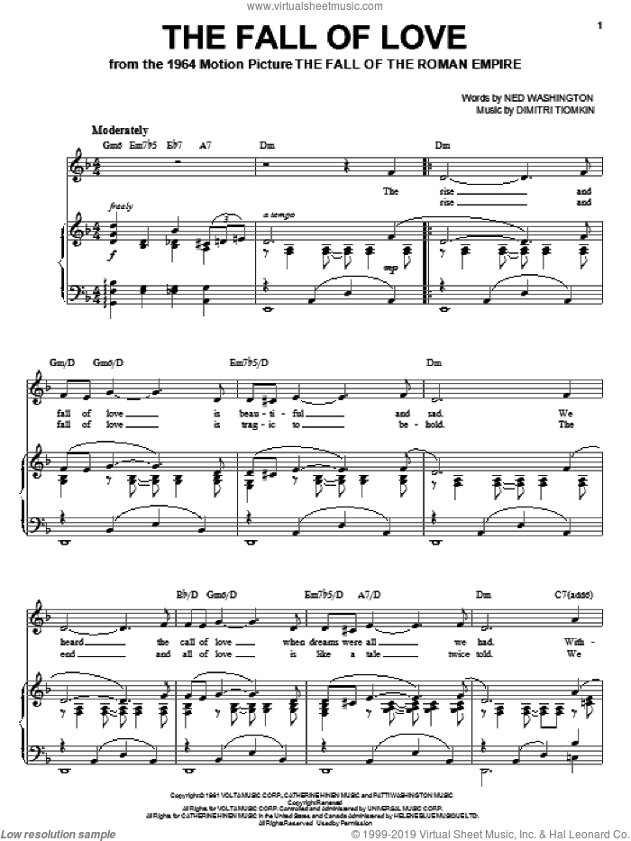 The Fall Of Love sheet music for voice, piano or guitar by Dimitri Tiomkin and Ned Washington, intermediate skill level