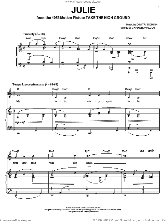 Julie sheet music for voice, piano or guitar by Dimitri Tiomkin and Charles Walcott, intermediate skill level