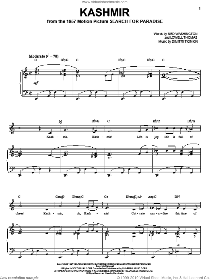 Kashmir sheet music for voice, piano or guitar by Ned Washington and Dimitri Tiomkin. Score Image Preview.