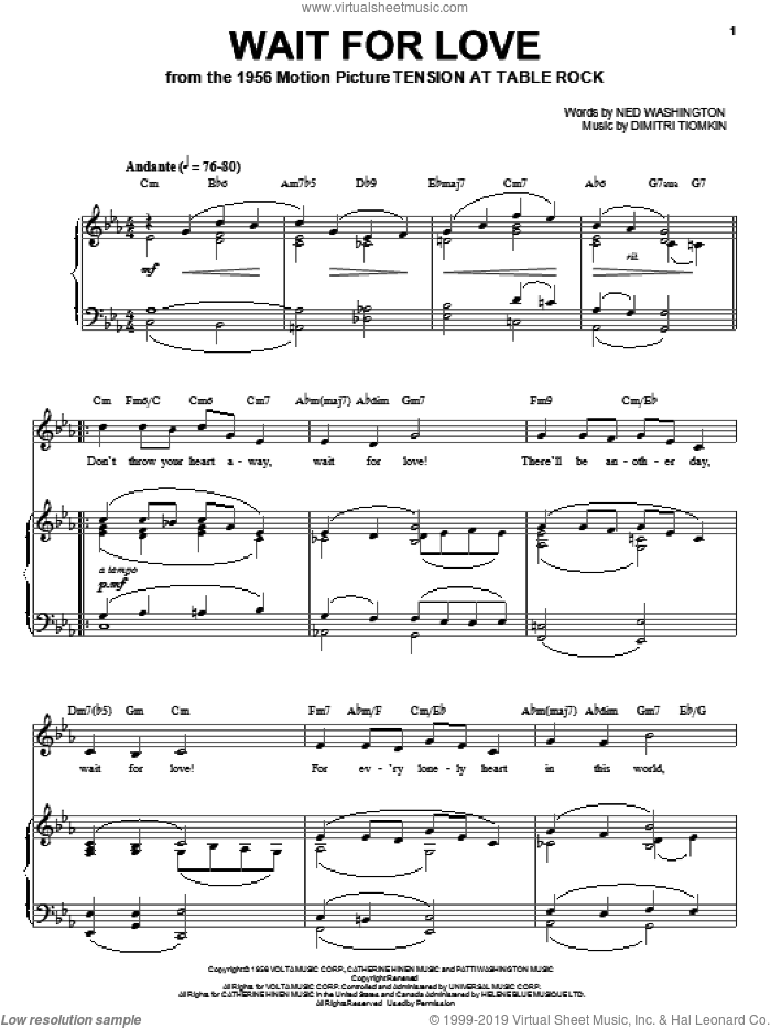 Wait For Love sheet music for voice, piano or guitar by Dimitri Tiomkin and Ned Washington. Score Image Preview.