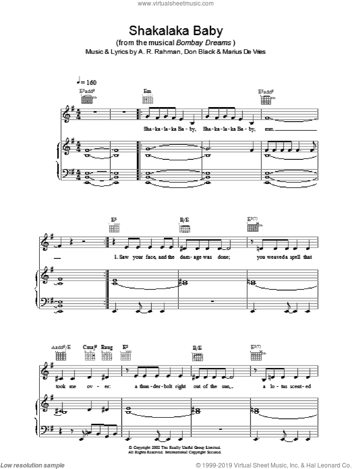 Shakalaka Baby sheet music for voice, piano or guitar by Bombay Dreams. Score Image Preview.