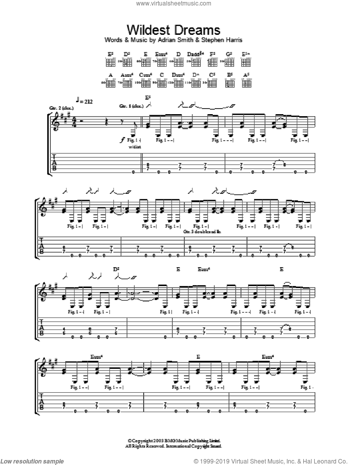 Wildest Dreams sheet music for guitar (tablature) by Iron Maiden, intermediate guitar (tablature). Score Image Preview.