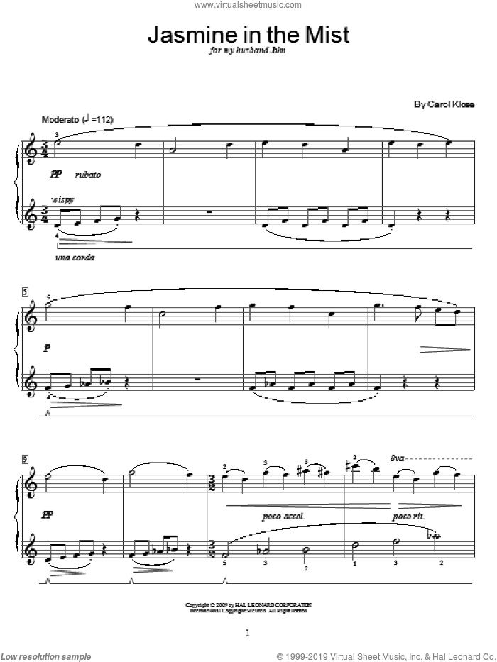 Jasmine In The Mist sheet music for piano solo (elementary) by Carol Klose and Miscellaneous, beginner piano (elementary)