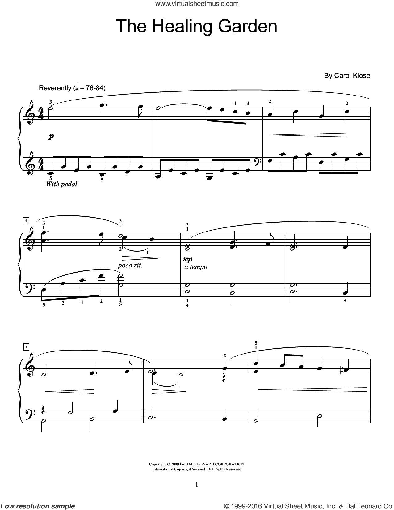 The Healing Garden sheet music for piano solo (elementary) by Carol Klose and Miscellaneous. Score Image Preview.
