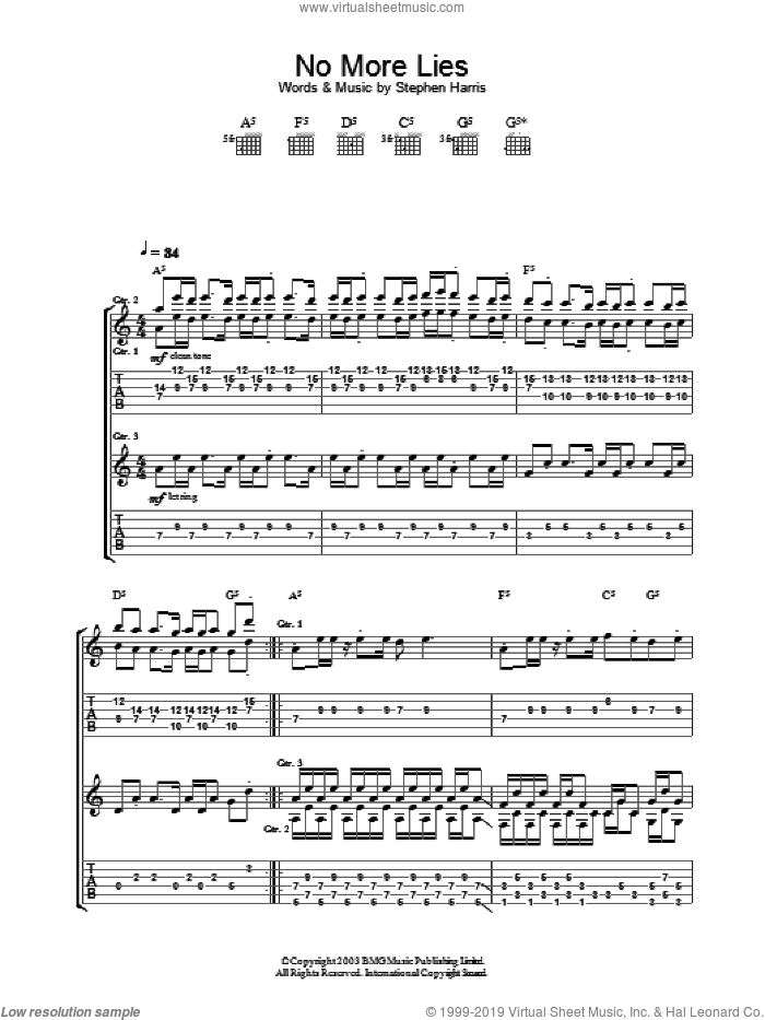 No More Lies sheet music for guitar (tablature) by Iron Maiden, intermediate skill level