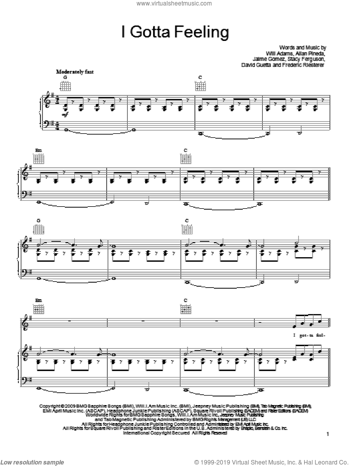 I Gotta Feeling sheet music for voice, piano or guitar by Will Adams, Black Eyed Peas, Allan Pineda, David Guetta, Frederic Riesterer and Stacy Ferguson. Score Image Preview.