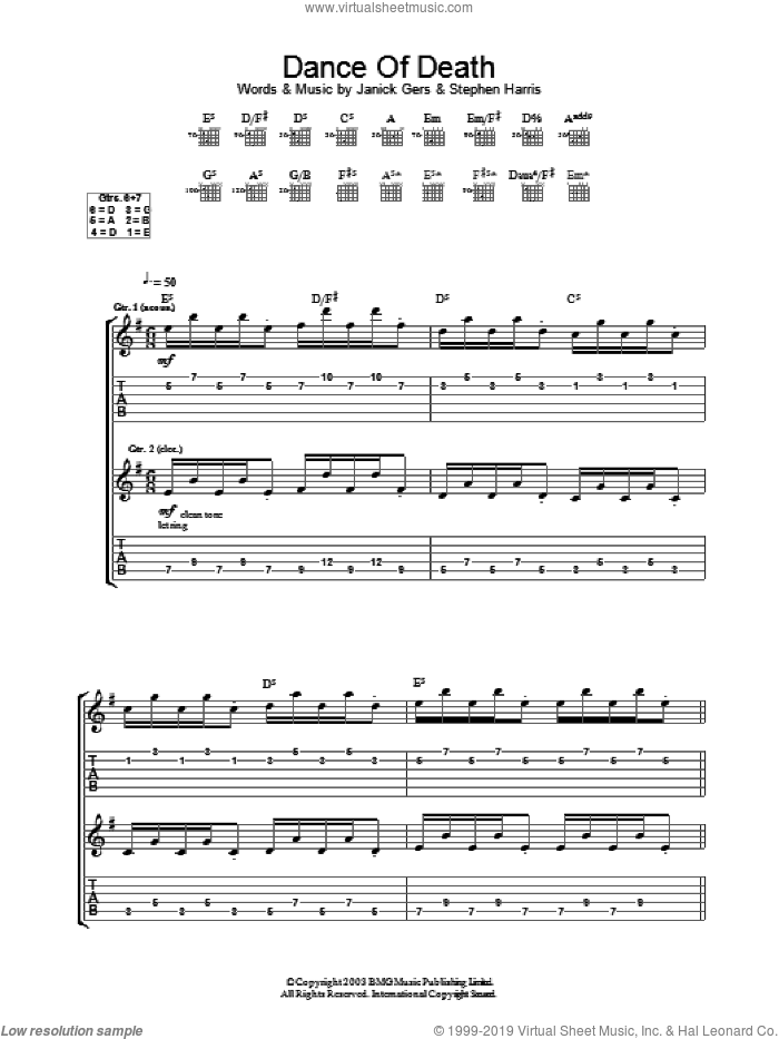 Dance Of Death sheet music for guitar (tablature) by Iron Maiden. Score Image Preview.