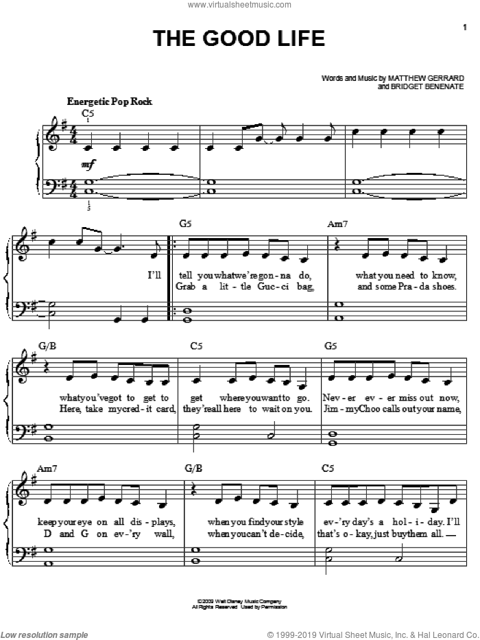 The Good Life sheet music for piano solo by Hannah Montana, Miley Cyrus, Bridget Benenate and Matthew Gerrard, easy piano. Score Image Preview.