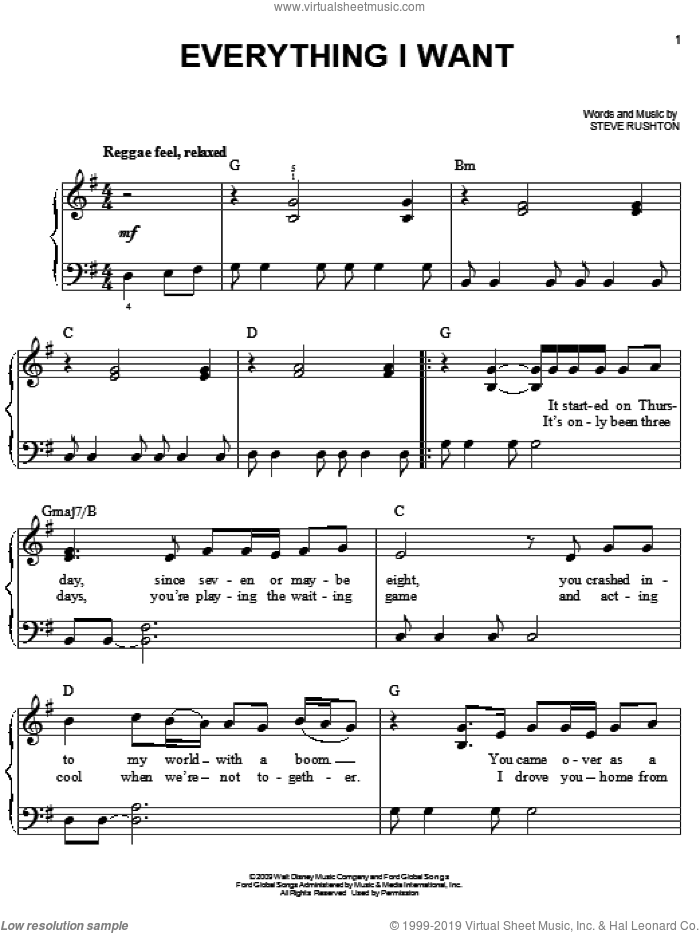 Everything I Want sheet music for piano solo by Steve Rushton, easy piano. Score Image Preview.