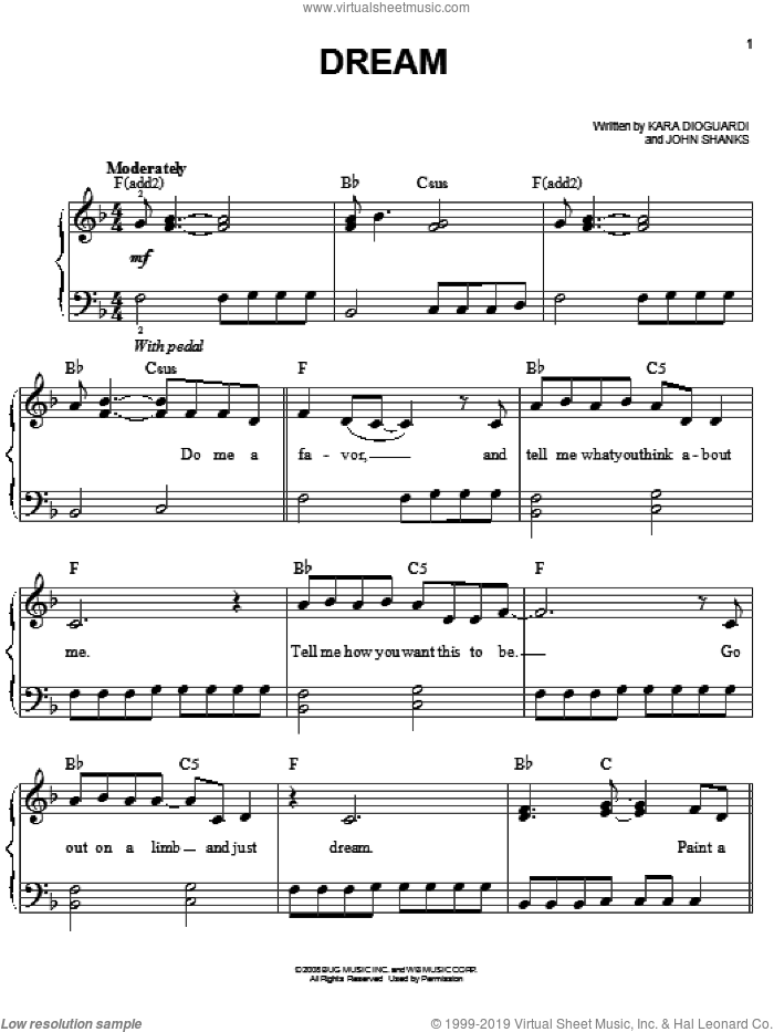Dream sheet music for piano solo by Miley Cyrus, Hannah Montana, Hannah Montana (Movie), John Shanks and Kara DioGuardi, easy skill level