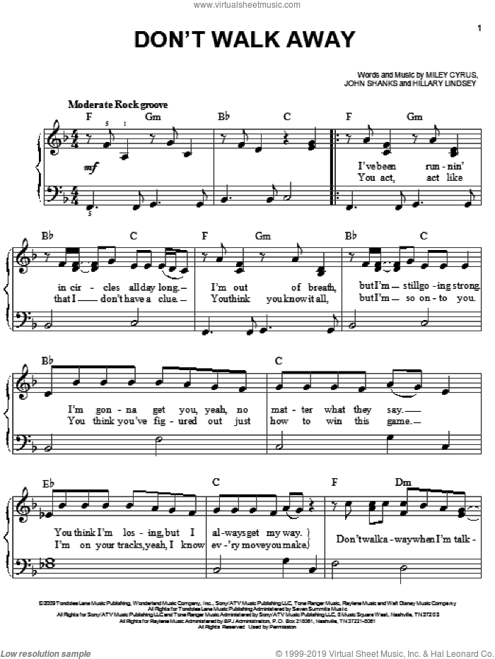 Don't Walk Away sheet music for piano solo by John Shanks, Hannah Montana, Hillary Lindsey and Miley Cyrus