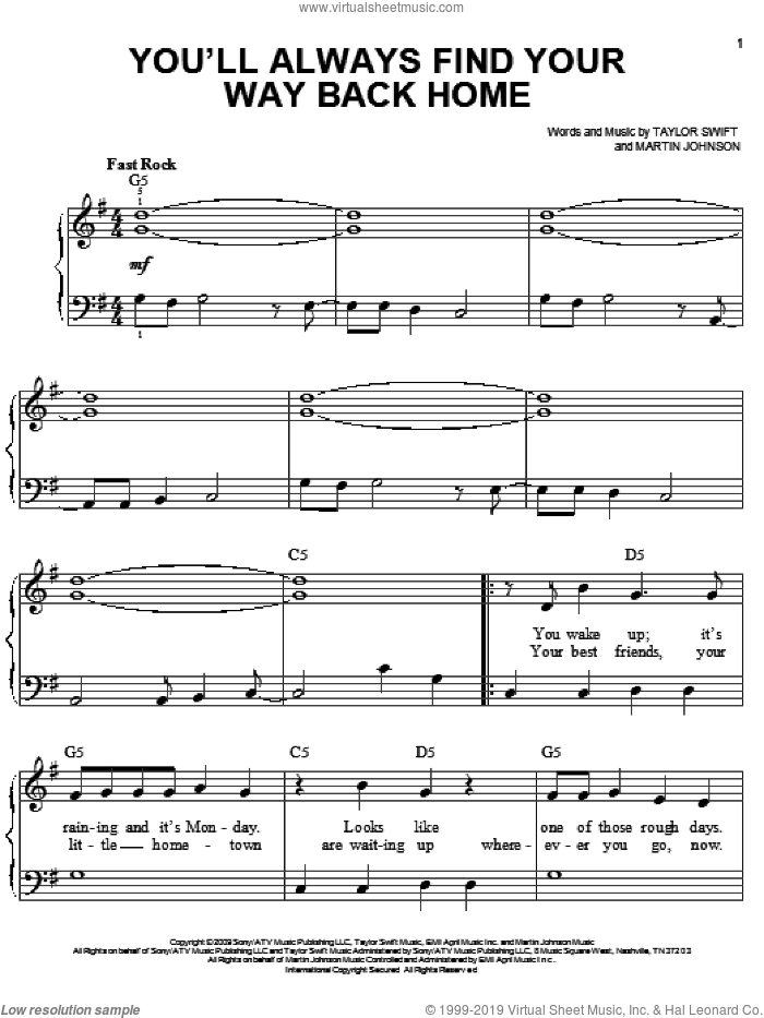 You'll Always Find Your Way Back Home sheet music for piano solo by Hannah Montana, Hannah Montana (Movie), Miley Cyrus, Martin Johnson and Taylor Swift, easy skill level