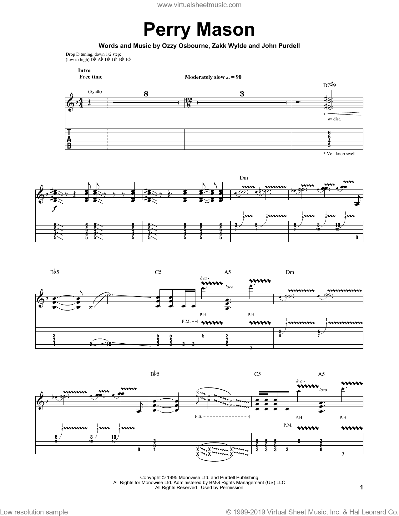 Perry Mason sheet music for guitar (tablature, play-along) by Zakk Wylde and Ozzy Osbourne. Score Image Preview.