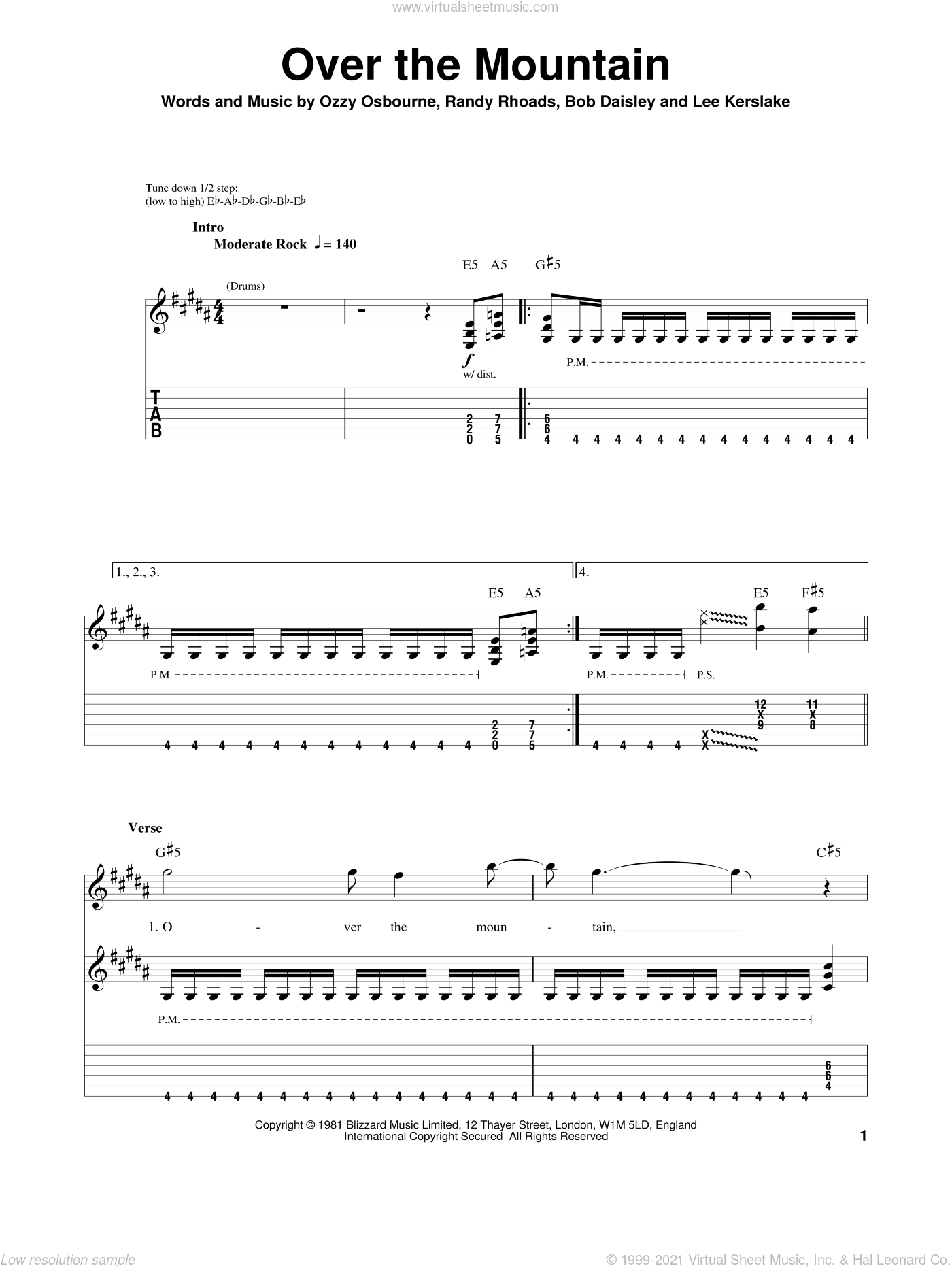 Over The Mountain sheet music for guitar (tablature, play-along) by Randy Rhoads