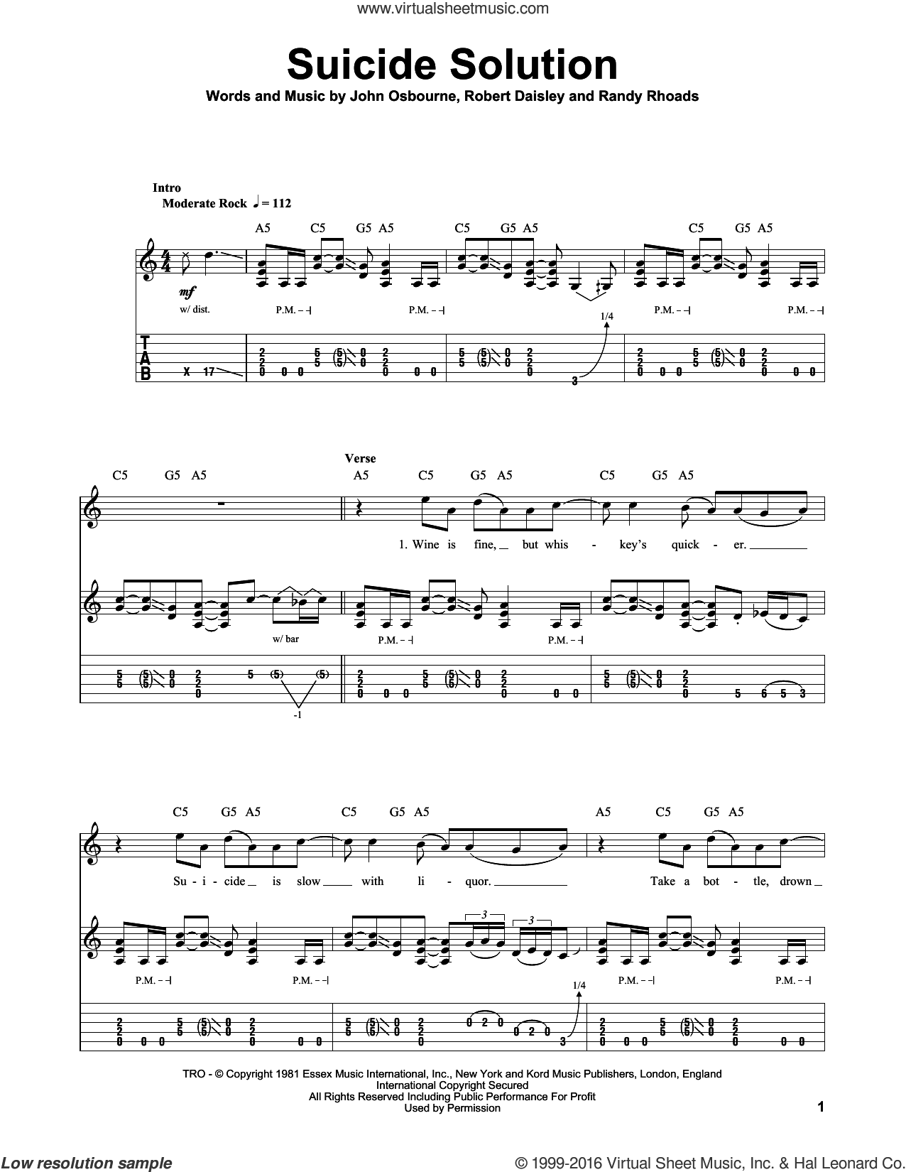 Suicide Solution sheet music for guitar (tablature, play-along) by Bob Daisley, Ozzy Osbourne and Randy Rhoads. Score Image Preview.