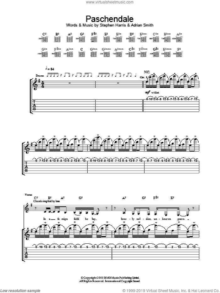 Paschendale sheet music for guitar (tablature) by Iron Maiden. Score Image Preview.