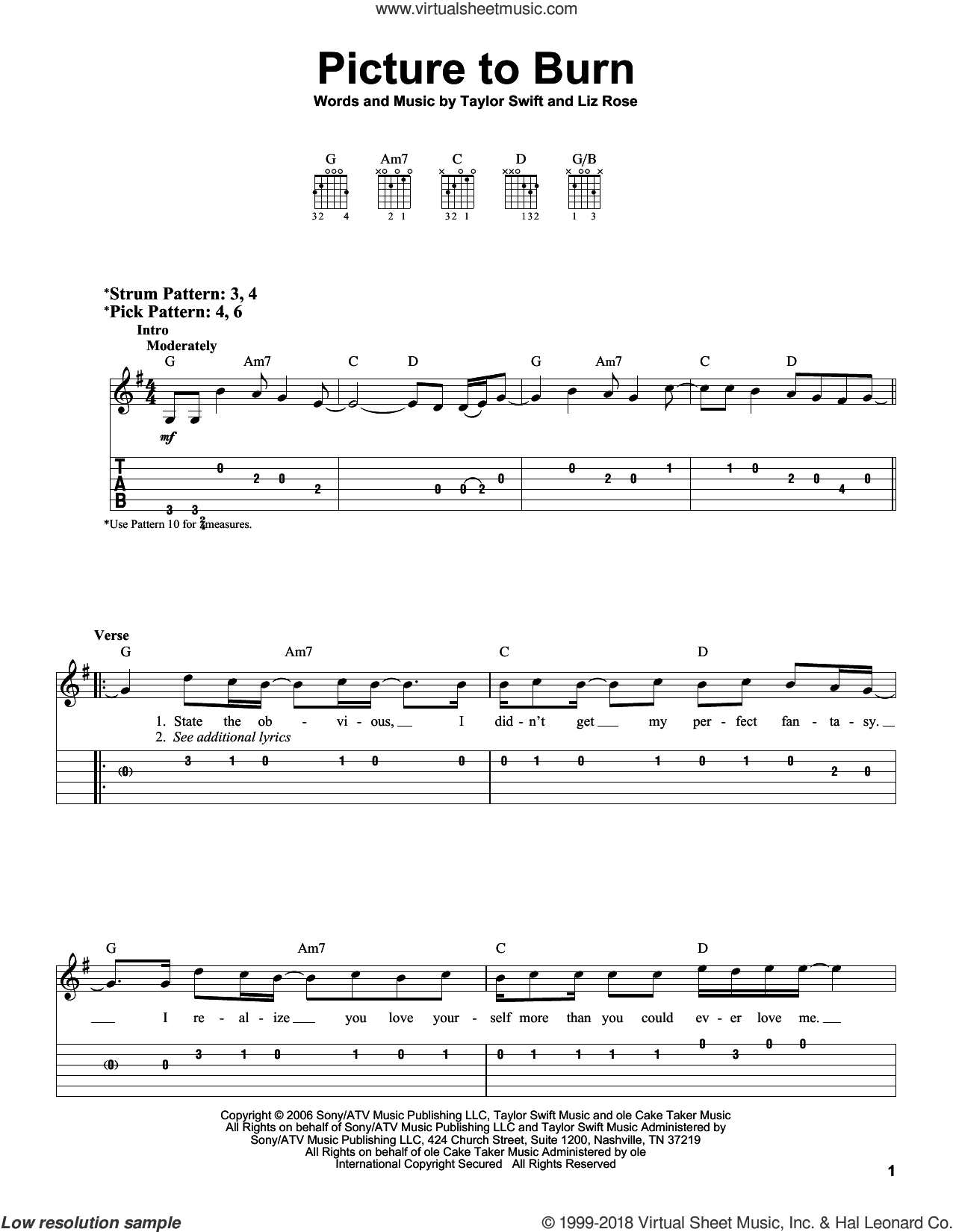 Picture To Burn sheet music for guitar solo (easy tablature) by Taylor Swift and Liz Rose, easy guitar (easy tablature)