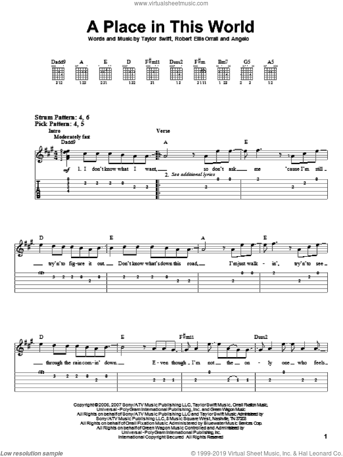 A Place In This World sheet music for guitar solo (easy tablature) by Robert Ellis Orrall, Patty Griffin and Taylor Swift. Score Image Preview.