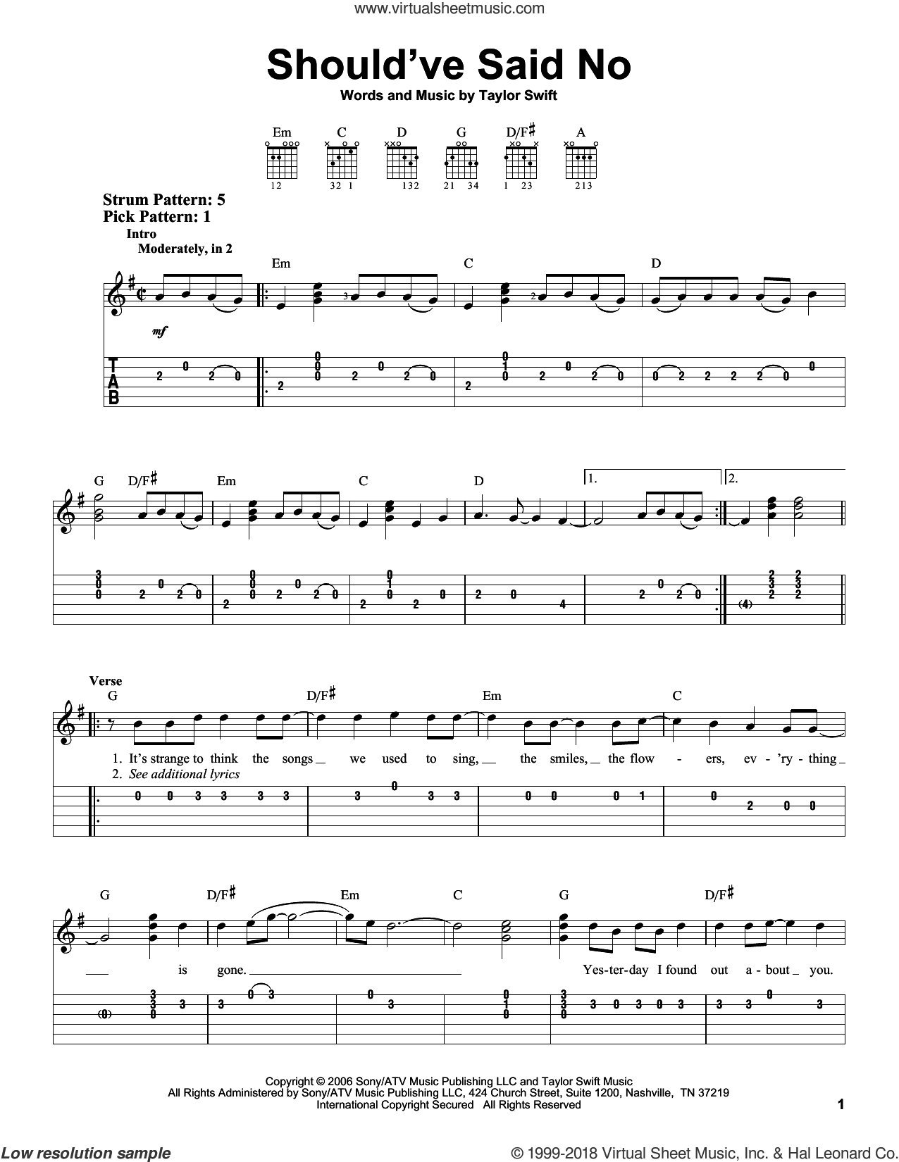 Should've Said No sheet music for guitar solo (easy tablature) by Taylor Swift. Score Image Preview.
