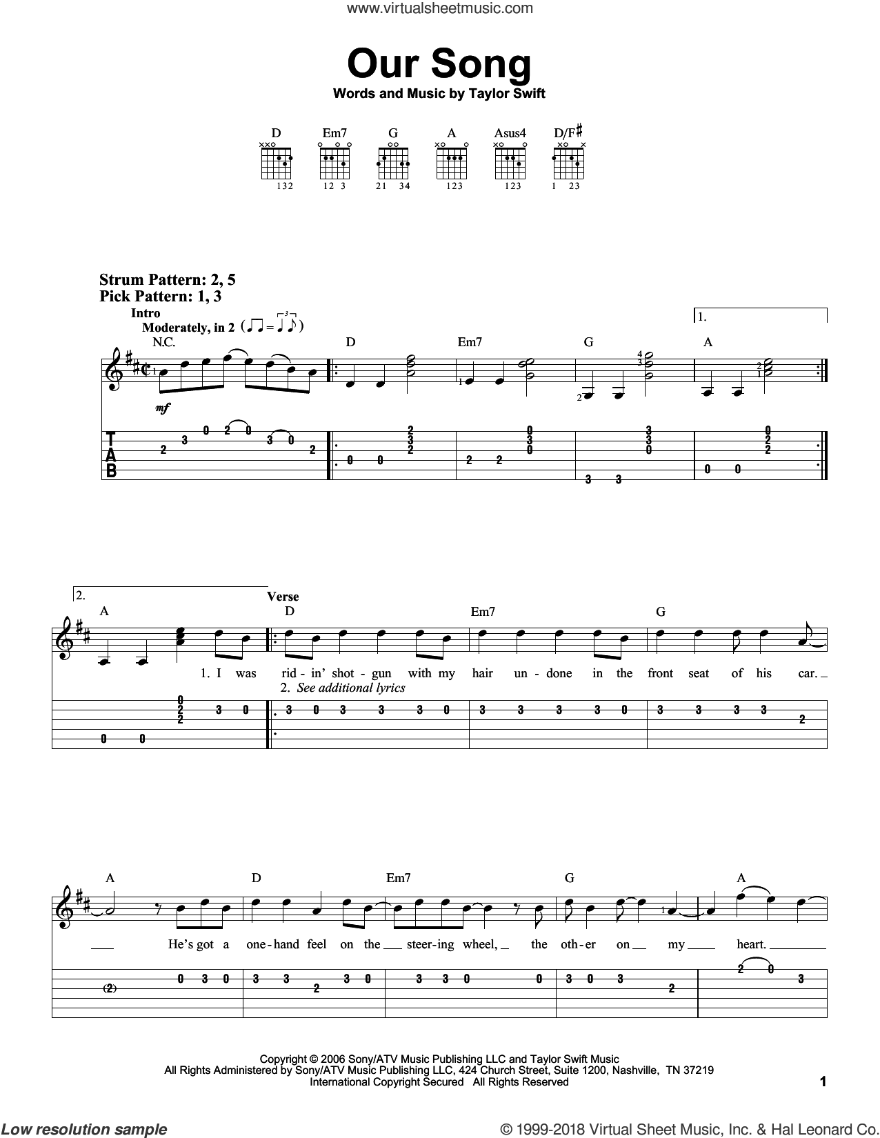 Our Song sheet music for guitar solo (easy tablature) by Taylor Swift, easy guitar (easy tablature)