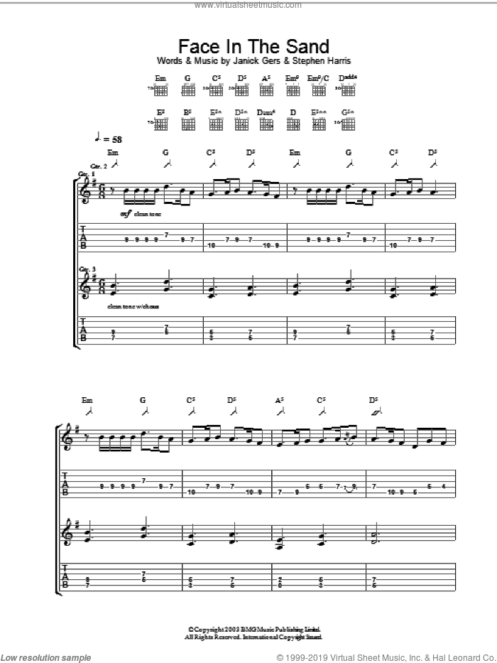 Face In The Sand sheet music for guitar (tablature) by Iron Maiden, intermediate. Score Image Preview.