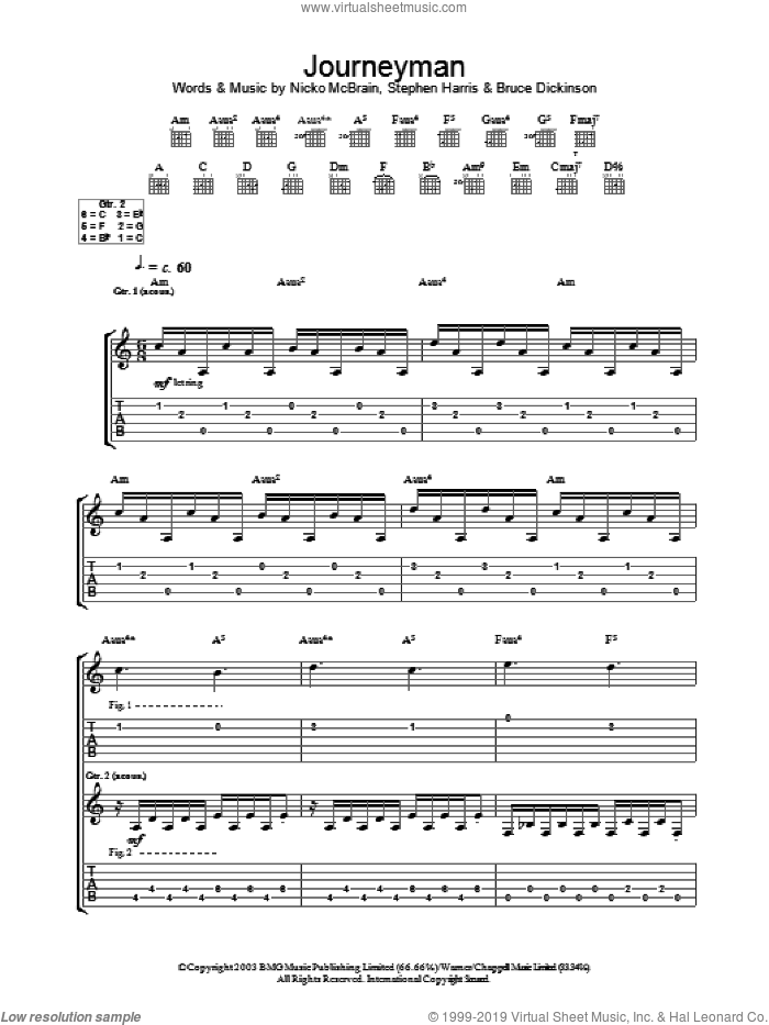 Journeyman sheet music for guitar (tablature) by Iron Maiden, intermediate skill level