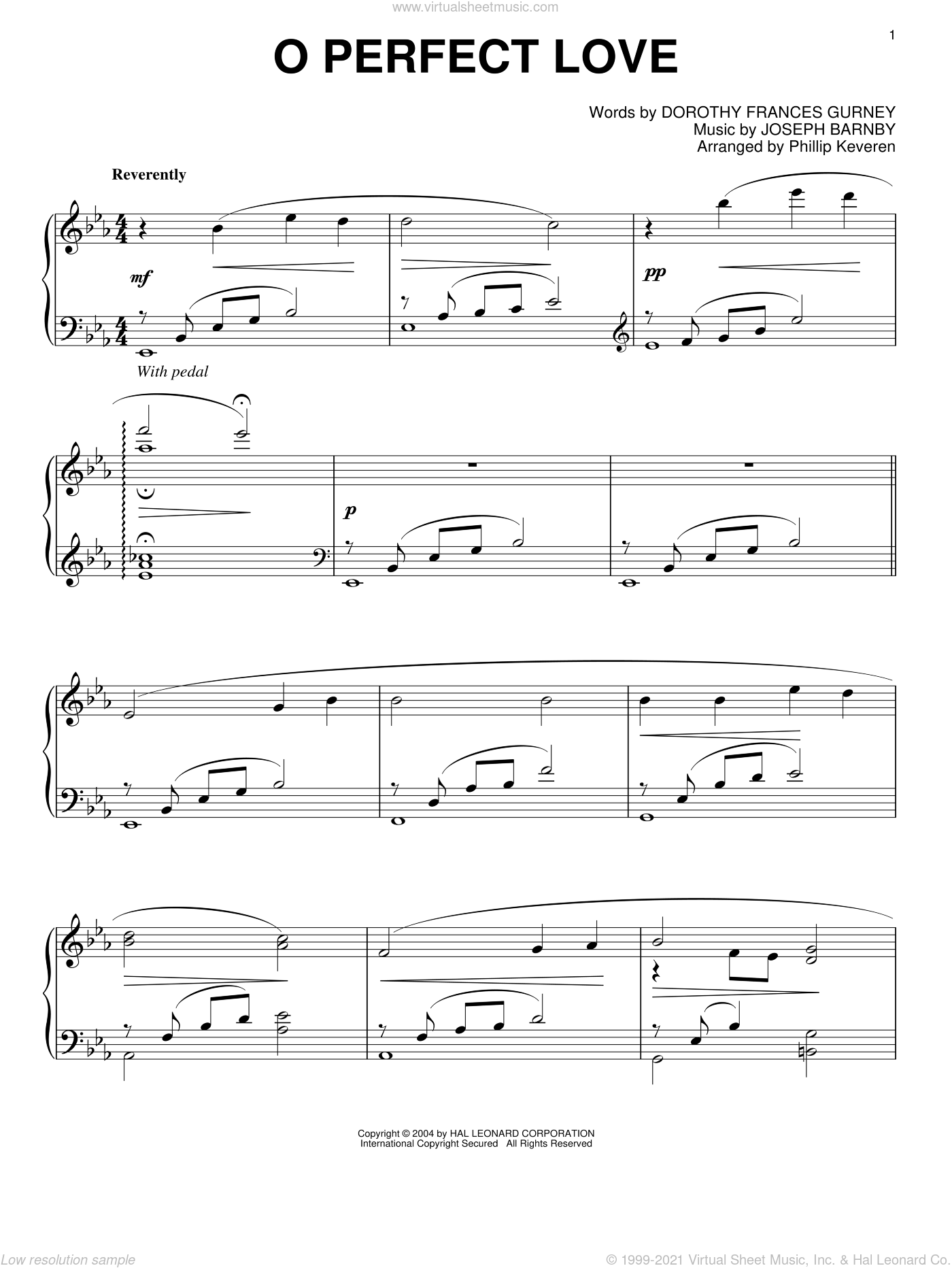 O Perfect Love sheet music for piano solo by Dorothy Frances Gurney, Phillip Keveren and Joseph Barnby