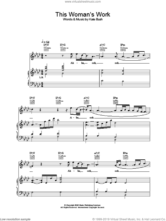 This Woman's Work sheet music for voice, piano or guitar by Kate Bush, intermediate skill level