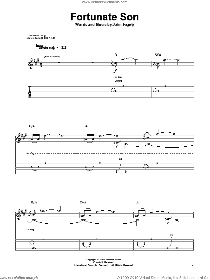 Fortunate Son sheet music for guitar (tablature, play-along) by John Fogerty