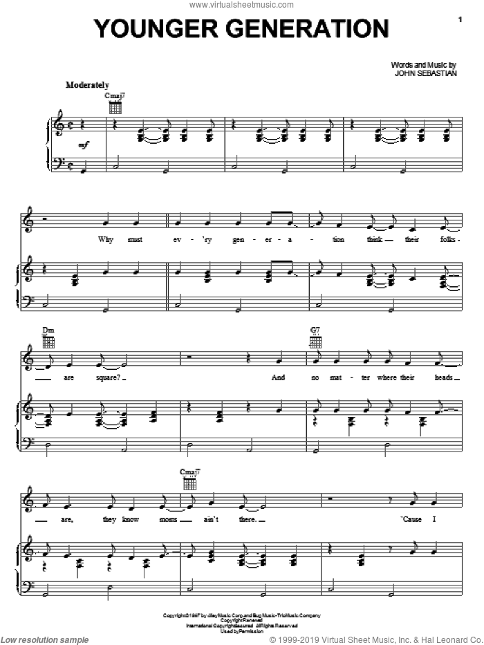 Younger Generation sheet music for voice, piano or guitar by John Sebastian. Score Image Preview.