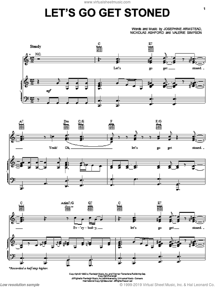 Let's Go Get Stoned sheet music for voice, piano or guitar by Joe Cocker, Ashford & Simpson, Ray Charles, Josephine Armstead, Nickolas Ashford and Valerie Simpson, intermediate skill level