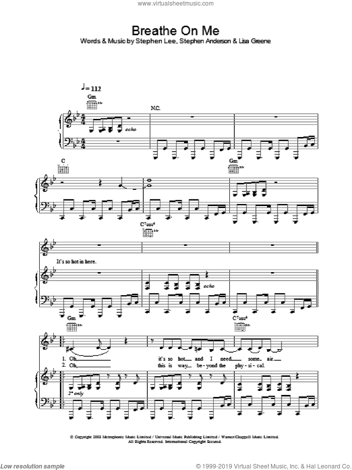Breathe On Me sheet music for voice, piano or guitar by Britney Spears. Score Image Preview.