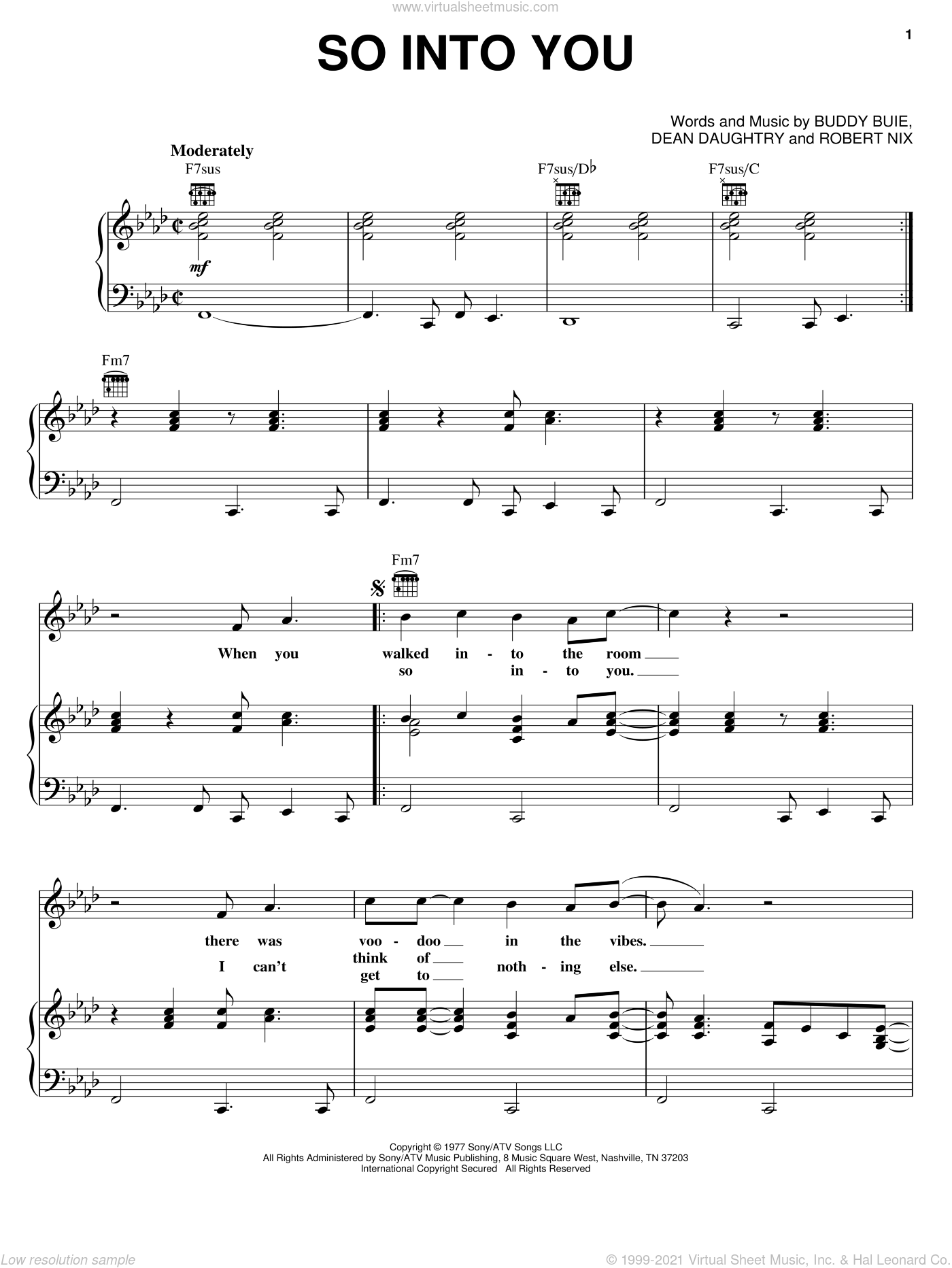 So Into You sheet music for voice, piano or guitar by Atlanta Rhythm Section, Buddy Buie, Dean Daughtry and Robert Nix, intermediate skill level
