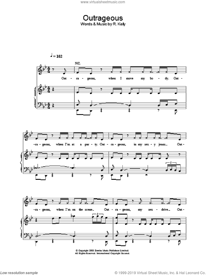 Outrageous sheet music for voice, piano or guitar by Britney Spears. Score Image Preview.