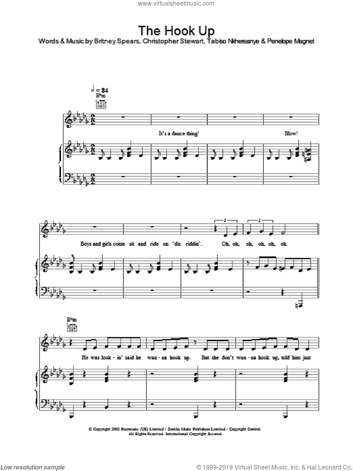 The Hook Up sheet music for voice, piano or guitar by Britney Spears, intermediate skill level
