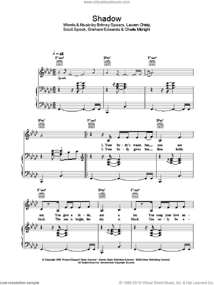 Shadow sheet music for voice, piano or guitar by Britney Spears, intermediate voice, piano or guitar. Score Image Preview.