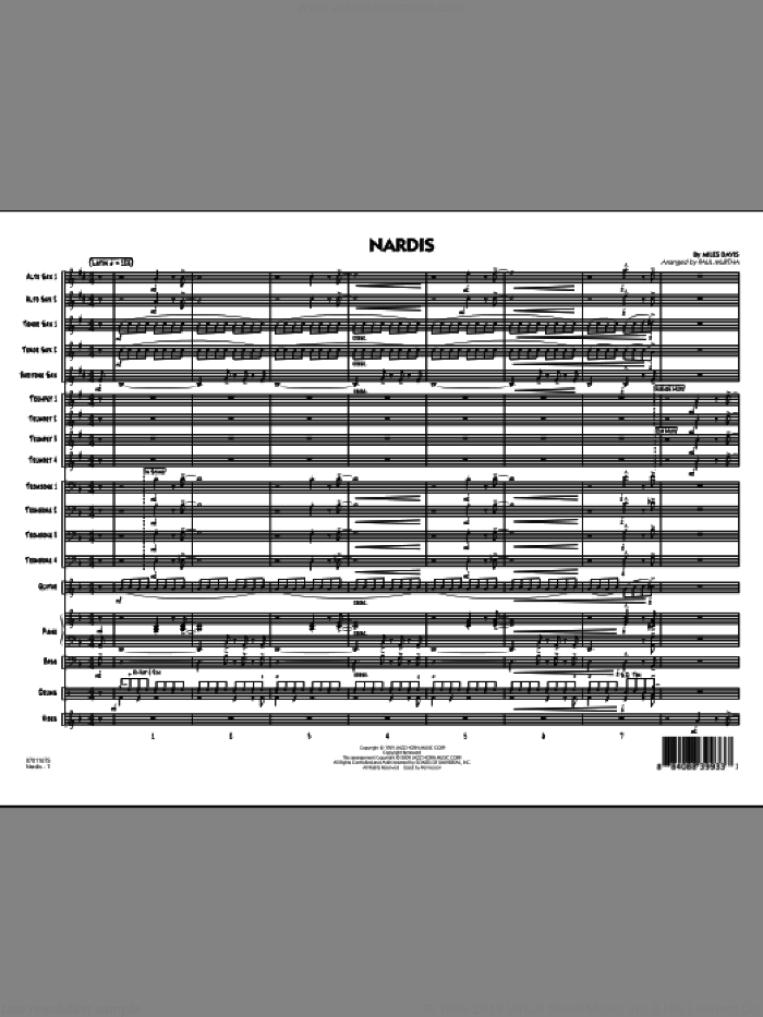 Nardis (COMPLETE) sheet music for jazz band by Miles Davis, Bill Evans and Paul Murtha, intermediate skill level