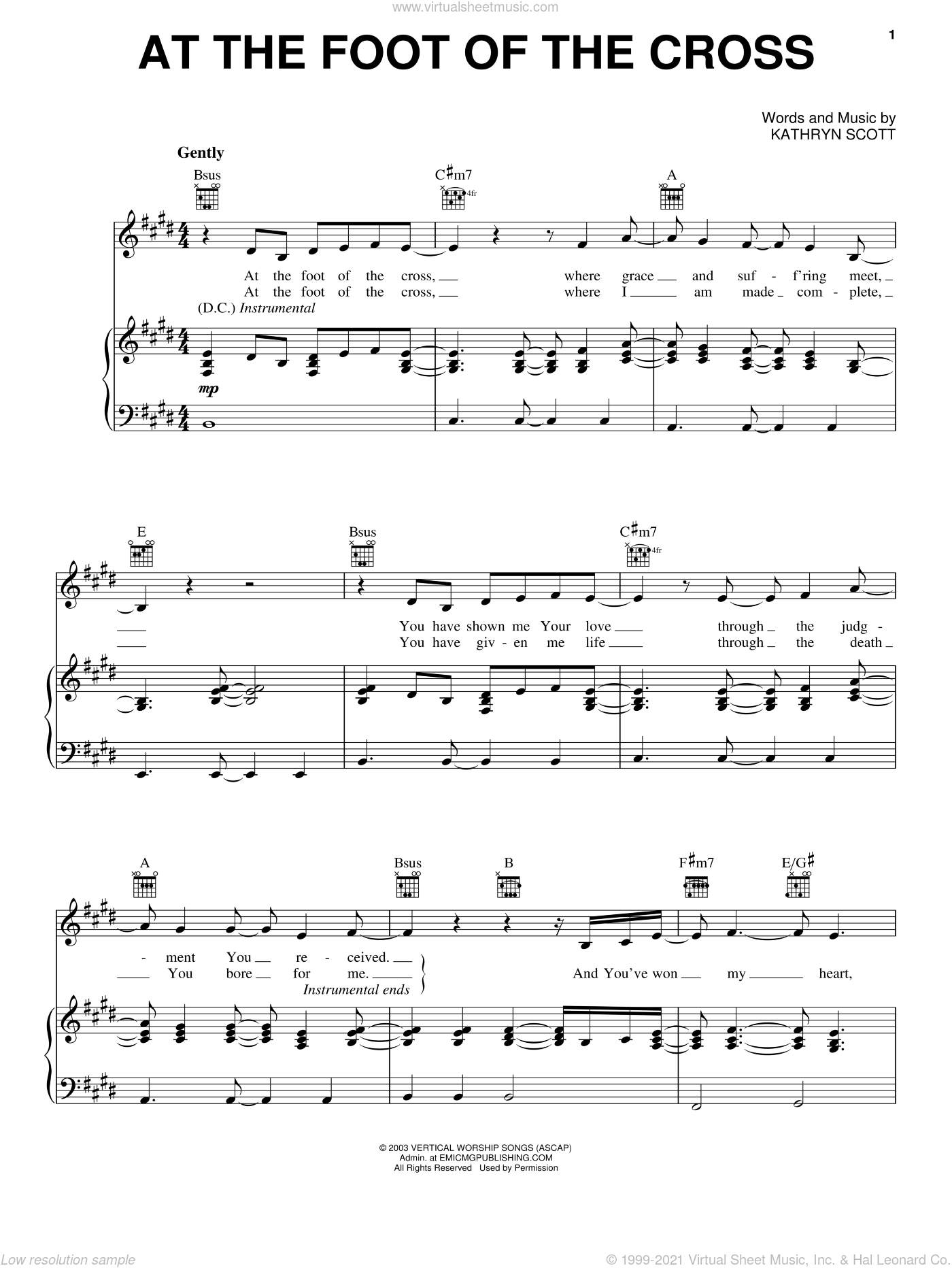 At The Foot Of The Cross sheet music for voice, piano or guitar by Kathryn Scott, intermediate skill level