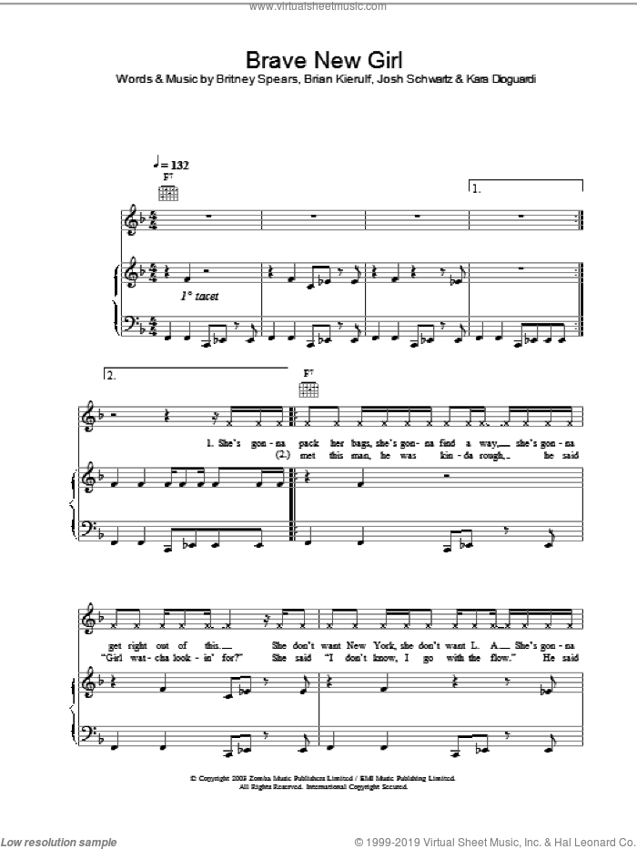Brave New Girl sheet music for voice, piano or guitar by Britney Spears. Score Image Preview.