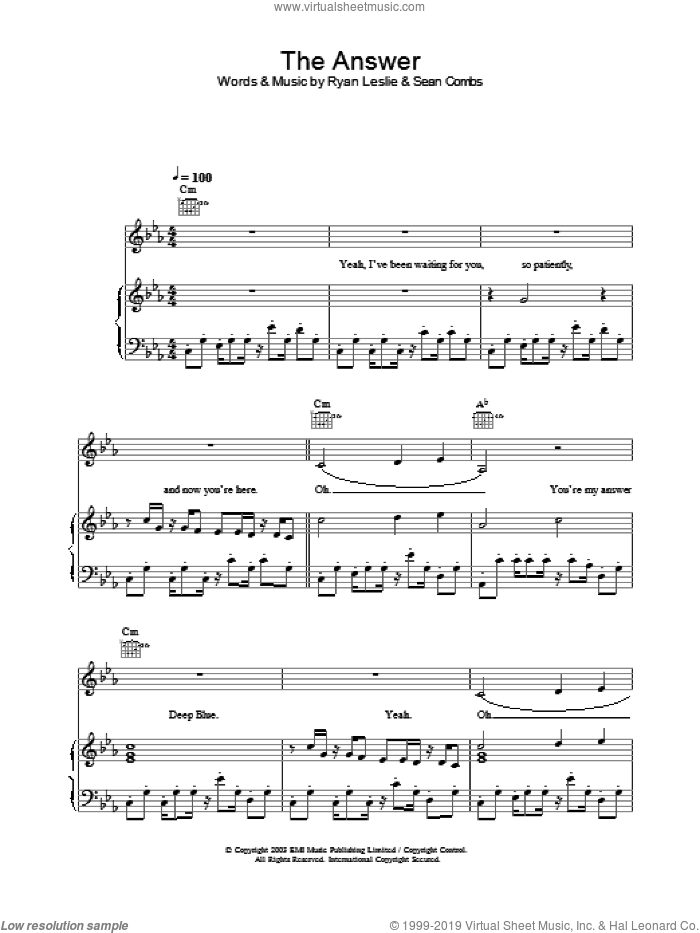 The Answer sheet music for voice, piano or guitar by Britney Spears, intermediate. Score Image Preview.