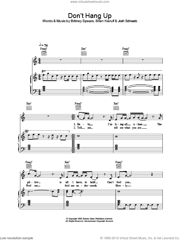 Don't Hang Up sheet music for voice, piano or guitar by Britney Spears, intermediate voice, piano or guitar. Score Image Preview.