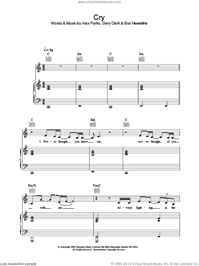 Cry sheet music for voice, piano or guitar by Alex Parks. Score Image Preview.