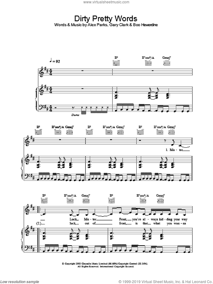 Dirty Pretty Words sheet music for voice, piano or guitar by Alex Parks. Score Image Preview.