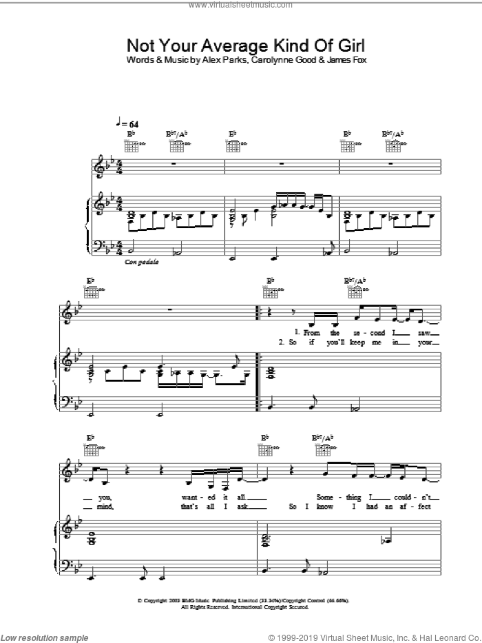 Not Your Average Kind Of Girl sheet music for voice, piano or guitar by Alex Parks, intermediate. Score Image Preview.