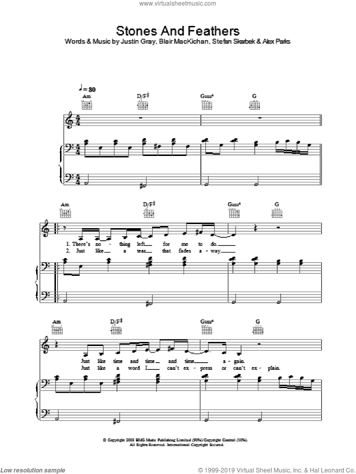 Stones And Feathers sheet music for voice, piano or guitar by Alex Parks, intermediate. Score Image Preview.