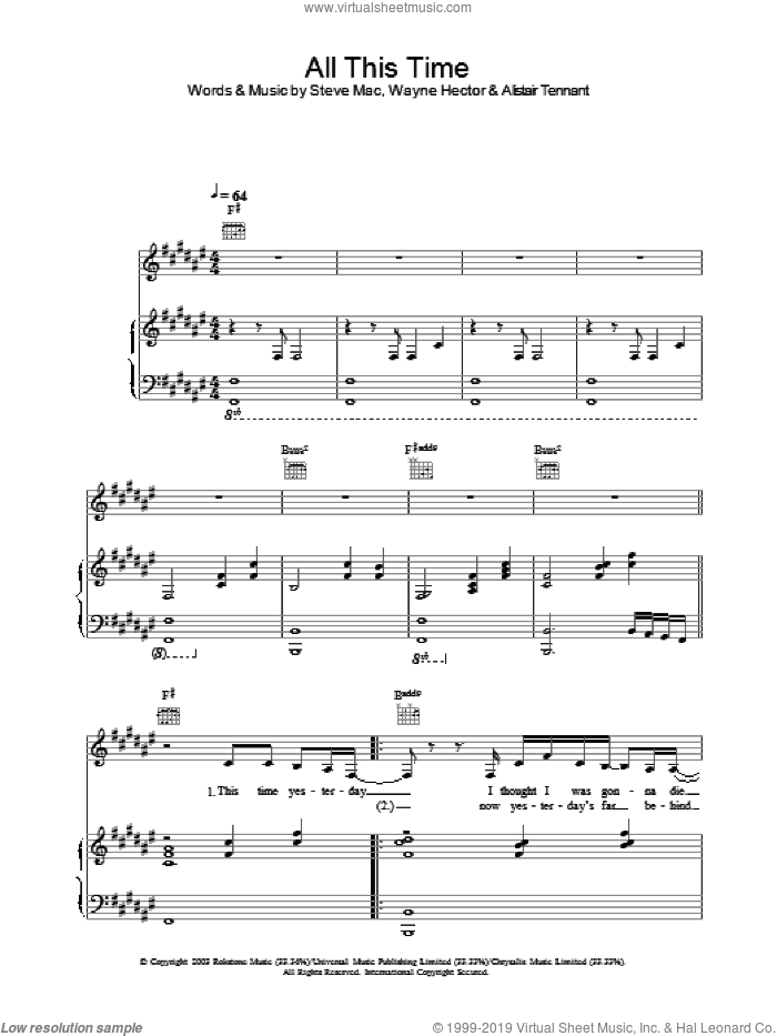 All This Time sheet music for voice, piano or guitar by Michelle. Score Image Preview.